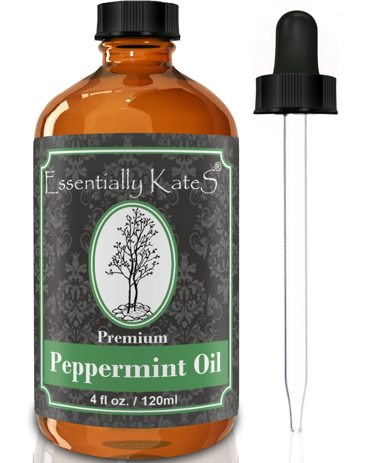 Peppermint-Essential-Oil-4-oz-with-Detailed-User-s-Guide-E-book-and-Glass-Dropper-by-Essentially-KateS
