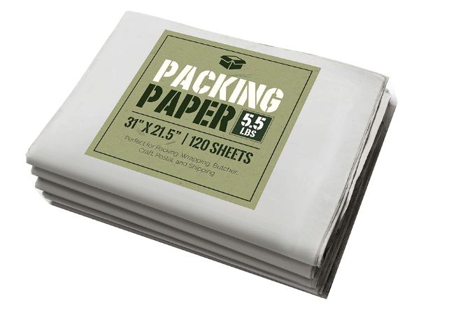 Newsprint Packing Paper: 5.5 lbs (~125 Sheets) of Unprinted, Clean Newsprint Paper, 31  x 21.5